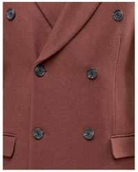 ASOS Brown Wool Mix Double Breasted Overcoat In Rust for men