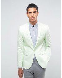 ASOS Green Skinny Blazer In Cotton Sateen In Mint for men