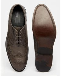 ASOS Gray Oxford Brogue Shoes In Grey Leather for men