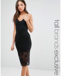 TFNC London | Black Lace Trim Cami Slip Dress | Lyst
