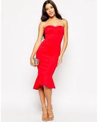 ASOS Multicolor Pephem Bandeau Midi Dress