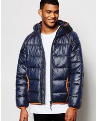 Love Moschino - Blue Padded Jacket Piping Detail for Men - Lyst
