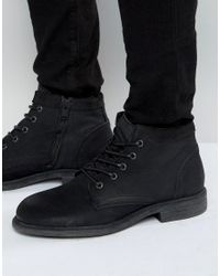 SELECTED Black Trever Leather Boots for men