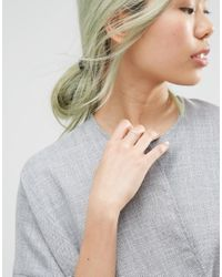 ASOS - Metallic Sterling Silver Studded Chain Ring - Lyst