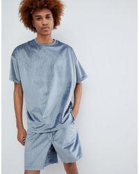 ASOS Gray Oversized Velour Co-ord T-shirt In Blue Pinstripe for men