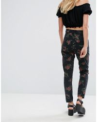 Monki Black Floral Print Kimomo Mom Jeans
