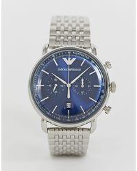 Часы-браслет 43 Мм Ar11238 Aviator-серебряный Emporio Armani для него, цвет: Metallic