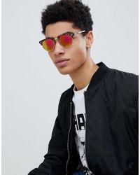 Jack & Jones - Brown Retro Sunglasses In Tortoiseshell With Reflective Lens for Men - Lyst