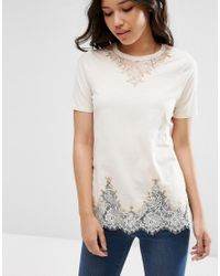 ASOS Pink Lace Longline T-shirt