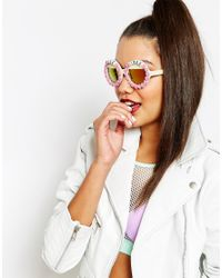 Rad & Refined - Pink Round Sunglasses With Mirror Lense - Lyst