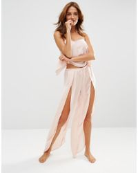 ASOS - Pink Savanna Open Wrap Pajama Satin Cami & Pant Set - Lyst
