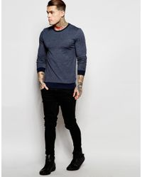 ASOS Blue Muscle Long Sleeve T-shirt With Contrast Rib In Navy for men