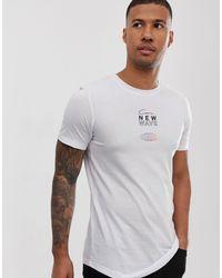Camiseta con estampado en la parte posterior en blanco Core Jack & Jones de hombre de color White