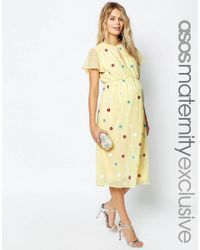 ASOS   Yellow Midi Dress With Embellished Multi Colour Flowers   Lyst