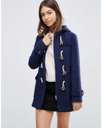 ASOS | Blue Hooded Wool Blend Duffle Coat With Checked Liner | Lyst