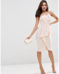 ASOS | Pink Scuba Bandeau Midi Dress With Heavy Fold Peplum | Lyst