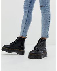 Черные Кожаные Ботинки На Плоской Платформе С Молнией Sinclair-черный Цвет Dr. Martens, цвет: Black