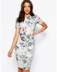 ASOS - Multicolor Floral T-shirt Scuba Bodycon Midi Dress - Lyst