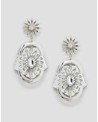 ASOS - Metallic Statement Jewel Earrings - Lyst