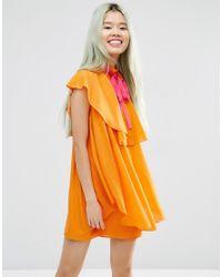 ASOS | Orange High Neck Ruffle Shift Mini Dress | Lyst