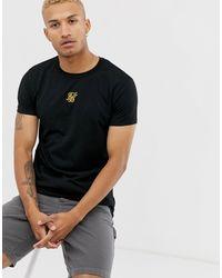 Siksilk – es T-Shirt mit goldfarbenem Logo in Black für Herren