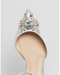 ASOS Metallic Society Wide Fit Embellished Heels - Silver