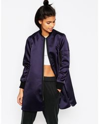 ASOS Blue Longline Bomber Jacket In Satin Fabric