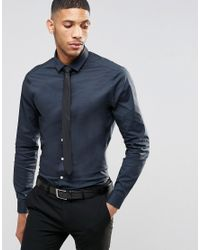 917ef2b10 ASOS Skinny Shirt In Charcoal With Black Tie Save 15% in Gray for ...