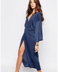 First & I - Blue V Neck Midi Dress - Navy - Lyst