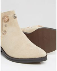 E8 Natural E8 By Miista Octavia Embellished Western Cut Out Suede Heeled Ankle Boots