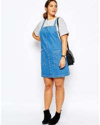 ASOS - Curve Denim Mini Pinafore Dress In Blue - Lyst