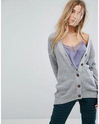 Daisy Street - Gray Boyfriend Cardigan In Cable Knit - Lyst