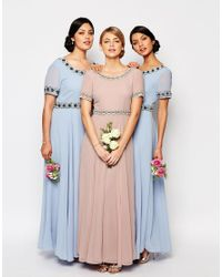 La Perla - Blue Deep Back Maxi Dress With Full Skirt And Embellishment - Lyst
