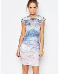 Ted Baker - Multicolor Dreamscape Print Jersey Shift Dress - Lyst