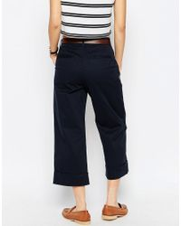 ASOS Blue Wide Leg Chino Trousers With Belt