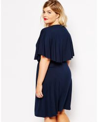 ASOS - Blue Mini Skater Dress With Wrap Cape - Lyst