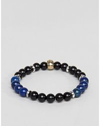 Reclaimed (vintage) Metallic Inspired Skull Bracelet With Semi Precious Beads In 3 Pack Exclusive To Asos for men
