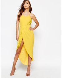 TFNC London Yellow Pleated Wrap Front Midi Dress With Belt