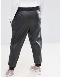ASOS - Black Joggers In Leather Look - Lyst
