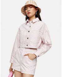 Розовые Джинсовые Шорты С Завышенной Присборенной Талией -коричневый Цвет TOPSHOP, цвет: Brown