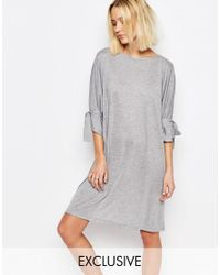 House Of Sunny Gray Shift Dress With Tie Sleeve