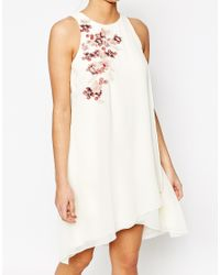 Little Mistress - Natural Shift Dress In Chiffon With Embroidery - Lyst