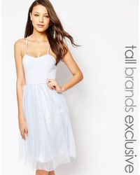 True Decadence - Blue Cami Strap Midi Prom Dress With Tulle Skirt - Lyst