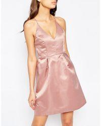 True Decadence - Pink Midi Prom Dress With Cami Strap Detail - Lyst