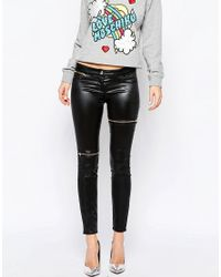 Love Moschino Black Zip Panel Leather Look Skinny Jeans