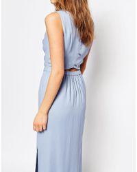 BOSS Orange Blue By Hugo Boss Side Split Backless Maxi Dress