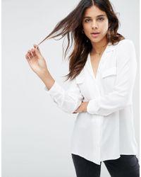 ASOS | White Clean Pyjama Blouse With Pocket Detail | Lyst