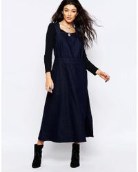 Free People - Blue Denim Apron Dress - Lyst