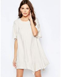 French Connection Natural Drop Waist Dress In Palm Crepe