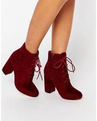 ab18a76e8ff29 London Rebel Lace Up Block Heeled Ankle Boots - Burgundy Mf in Red ...